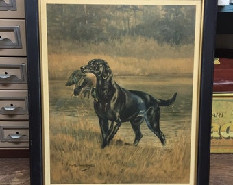 Cool black lab bird dog picture in frame