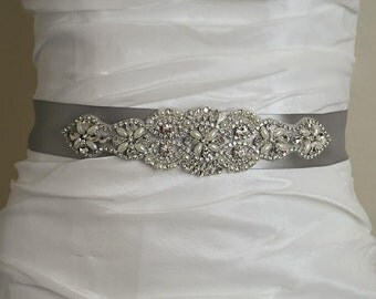 Vintage Pearl Crystal Silver Satin Wedding Sash, Crystal Bridal Belt, Wedding Bridal Belt, Satin Ribbon Wedding Sash, Wedding Belt- BT001