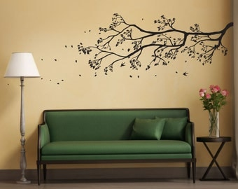 Tree Branch Wall Sticker with falling leaves and birds perched | Removable wall decal Home decor wall art decal