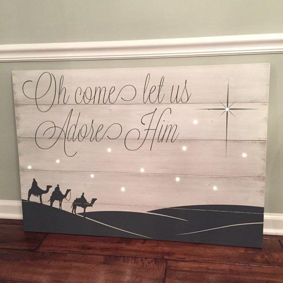 Oh Come Let Us Adore Him Wood Signs Christmas Signs Wood: Items Similar To Christmas Sign