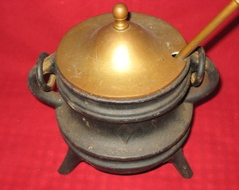 Fire Starter/Vintage Cast Iron and Brass Fire Starter with Pumice Stone Wand/Antique Fire Starter Pot with Wand/Smudge Pot/Cauldron