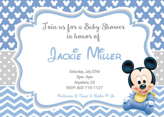 baby mickey mouse baby shower invitations baby mickey baby shower