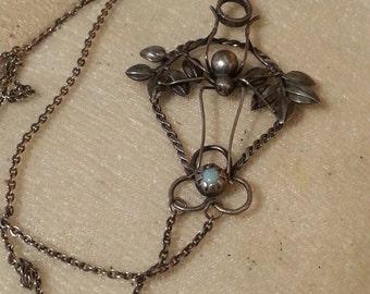 Art Nouveau Spider & Turquoise Necklace