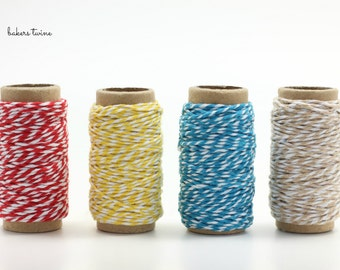 Set of 4 colourful bakers twine, bakers twine lot, gift wrapping and packaging string - 10m per roll