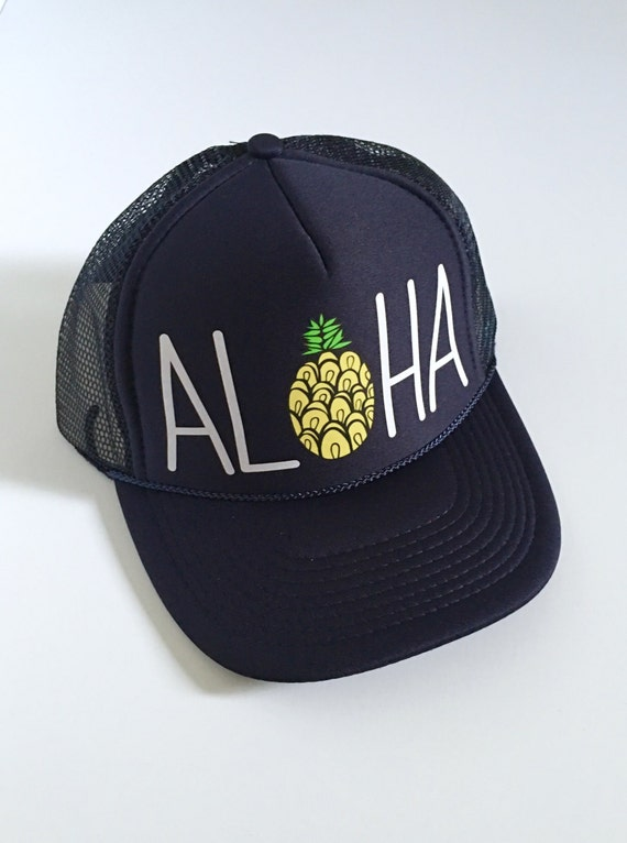 Aloha Trucker Hat| Aloha Hat| Pineapple |Hawaii Hat| Beach Hat|Trucker Hat| Solid Navy-Hand with vinyl design