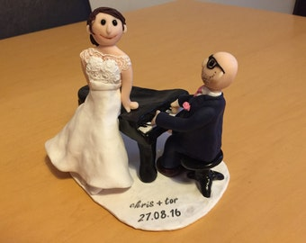Handmade Wedding Cake Topper - 2 Figures with base and piano, named and dated