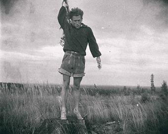 Vintage photo antique photograph man high heels waving flowers Weird strange unusual gay man lgbt gift cross dresser 1930s PRINT