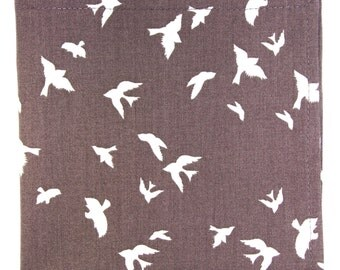 Brown white birds pocket square, Mens seagulls birdies cotton handkerchief, wedding groom gift psq hankie