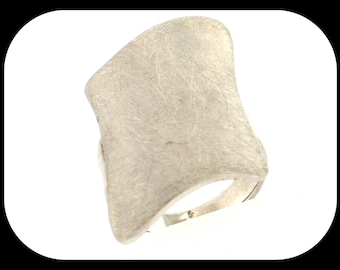 New Italy Designer 925 sterling silver Matte Rhomboid STATEMENT RING Size Sz 6.5