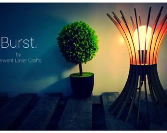 Burst Design Laser Cut Wooden Table Lamp