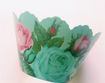 12 Shabby Chic Cupcake Wrappers