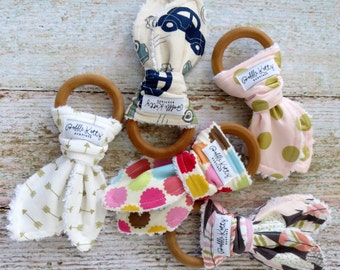 Baby Teethers - Teething Toys - Wooden Teething Toys - Wooden Teething Ring - Baby Teething Ring - Montessori Inspired Baby Toy - Baby Gift