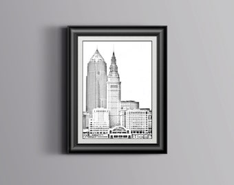 Cleveland Art ! Key and Terminal Towers,  Cleveland Print