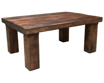 Chunky Coffee Table Rustic Wooden Hand Made Distressed Rectangle STAIN OPTIONS Available