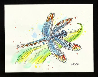 Dragonfly 2 *Original Ink and Watercolor Painting*