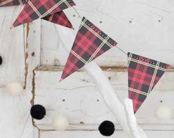 Lumberjack Birthday, Plaid, Garland, Buffalo Plaid Party, Pennant Banner, Flags, Tartan, Bunting Flags, Flag Banner, Plaid Party, Plaid Flag