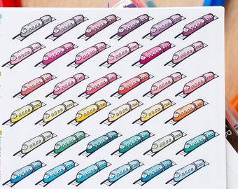 45 Trains Mini Icons -  Colourful Hand Drawn Sticker Planner