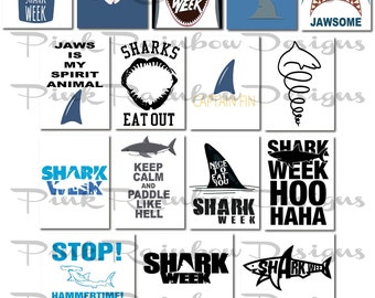 Shark Week Scrapbook Journal Cards ~ jaws ~ great white ~ fin ~ ocean ~ party ~
