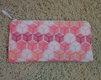Pink Geometric Zippered Pencil Bag