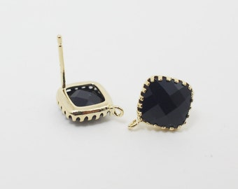 E008701/Jet/Faceted Glass +Gold Plated Over Brass Frame+Sterling Silver Post/Tooth Framed Square Glass Earrings/10x 10mm/2pcs