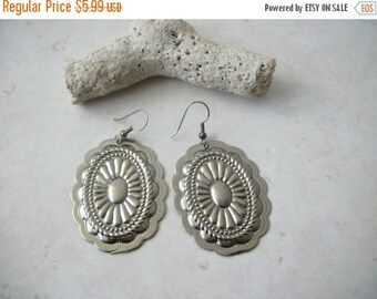 ON SALE Vintage 1960s Over Sized Southwestern Inspired Chunky Silver Metal Earrings 91516