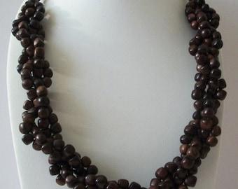 ON SALE Vintage Dark Brown Cluster Wooden Beads Necklace 10616
