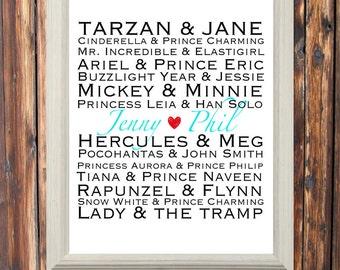 Printable-Disney Sign-Wall Decor-Sign-Custom-Personalized Couple Sign-Love-Disney Printable-Wedding-Newlywed-Gift-Keepsake-Anniversary