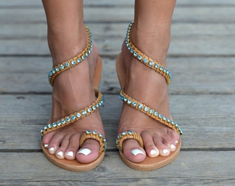 """Genuine leather sandals""""DAHLIA"""" Decorated with bright turquoise crystals &suede"""