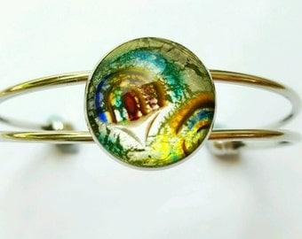 Dichronic glass bangle, foil glass bangle, cabochon bangle, foil glass cabochon bangle, dichronic glass bracelet, foil glass bracelet