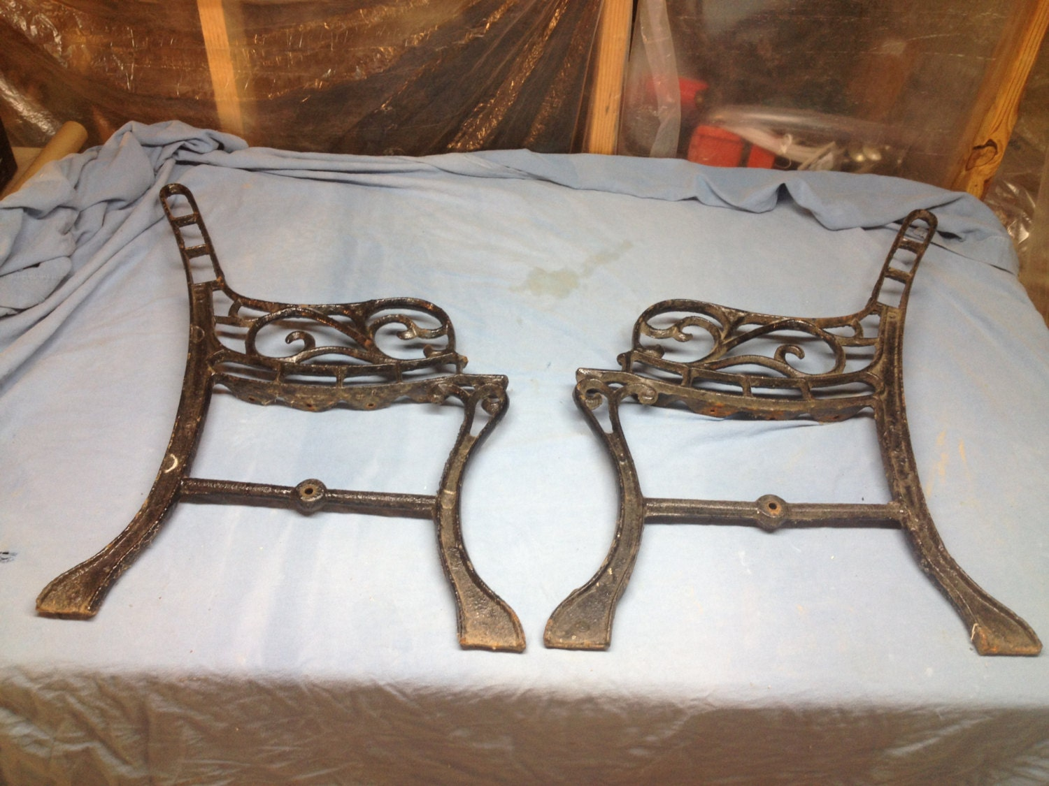 Vintage Cast Iron Garden Bench Sides Legs Small