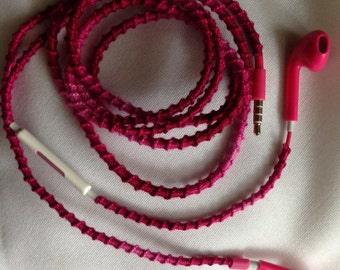 Dark Pink Woven Earbuds W/Mic