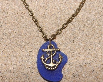 Blue Seaglass Anchor Necklace