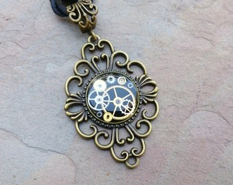 bronze resin watch cog pendent