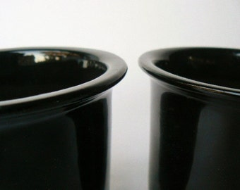 "Pair of Small Black Ceramic Garden Pots Simple Windowsill Minimalist Pottery - Glossy Glazed Set with Drainage Hole, Cactus Planter 4x4""Tall"