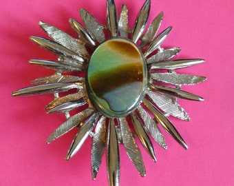 By Exquisite Star Burst Style BROOCH Signed