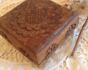 Hand Carved Square Flower Trinket Box
