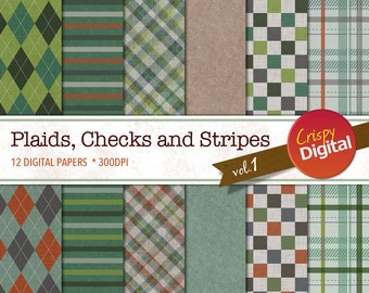 Digital Papers Plaids, Checks and Stripes Green, Red and Gray 12pcs 300dpi Digital Download Collage Sheets Scrapbooking Printable Paper
