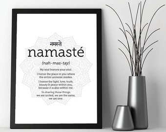 Downloadable Yoga Print, Yoga Print, Yoga Art, Namaste, Printable Art, Black White, Yoga, Zen, Boho, Print, Poster, Art, Wall Art, Wall Deco