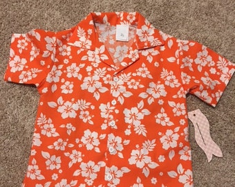 Boys Orange Hawaiian/Tropical Shirt