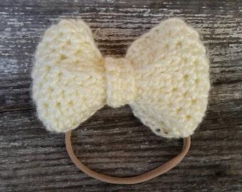Big Baby Headband / Nylon Headband /Cream Baby Girl Headband / Baby Girl Headband Ivory / Baby Girl Headband Cream / Cream Nylon Headband
