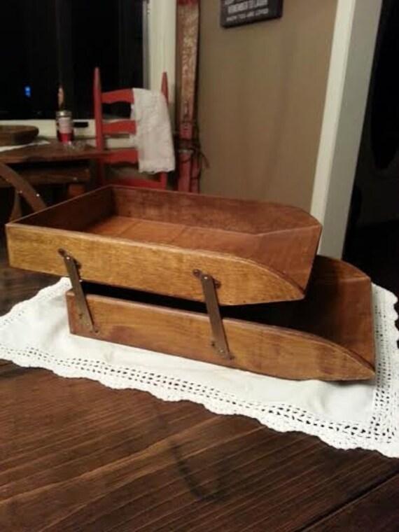 Vintage Wood Desk Tray Desk Tray Wood Desk Tray Letter