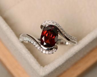 Garnet ring, oval cut garnet, engagement ring, natural garnet, January birthstone, ring garnet
