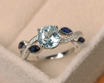 Aquamarine ring, leaf ring, sterling silver, aquamarine engagement ring, natural aquamarine