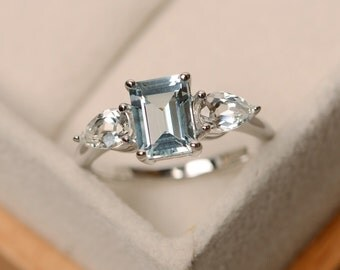 March birthstone ring, aquamarine ring, emerald cut aquamarine, sterling silver, engagement ring