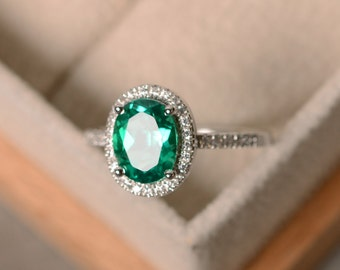 Lab emerald ring, sterling silver, May birthstone, promise ring, engagement ring
