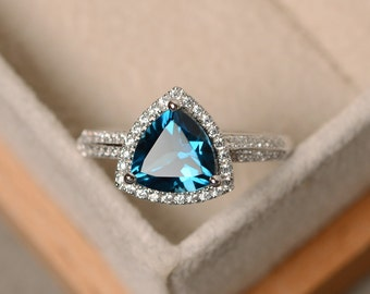 London blue topaz ring, engagement ring, blue topaz ring, trillion cut ring