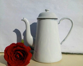 French Enamel coffee pot white / French enamelware / Cottage shabby chic/ Farmhouse/ Enamel pots /