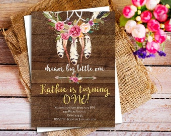 Dream Big Little One Invitation, Tribal arrow feather invitation, Tribal birthday Invitation, Wild One Birthday, Boho wild one invitations