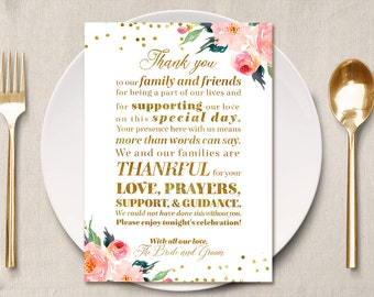 Gold Table Sign Thank You Place Card, Thank you menu place setting cards, Gold placement cards, Guest thank you card, family table thank you