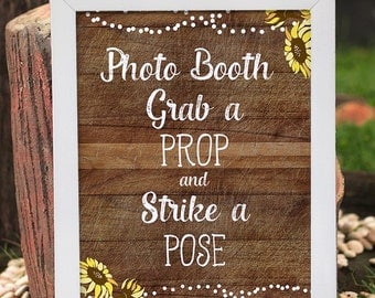 rustic photo booth sign, grab a prop and strike a pose, wedding photo booth, Bridal Shower photo booth, Baby Shower photo booth sign, spring